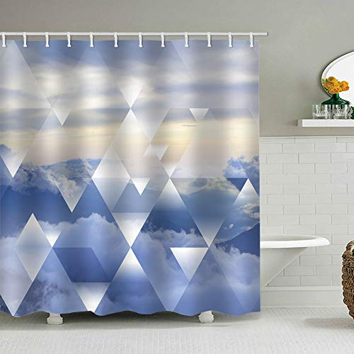 Eleroye Duschvorhang, 183 x 183 cm, blauer Stoff, mit Haken, blauer Himmel, Wolken, Mauve, gelber Himmel, geometrische Diamanten, dreieckig, Badezimmer, Dekoration, wasserdicht, maschinenwaschbar