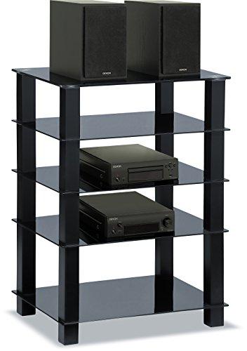 Centurion Supports Trinity Scaffale con 5 ripiani lucidi neri e gambe nere, per TV a schermo piatto, supporto in vetro Gambe nere.