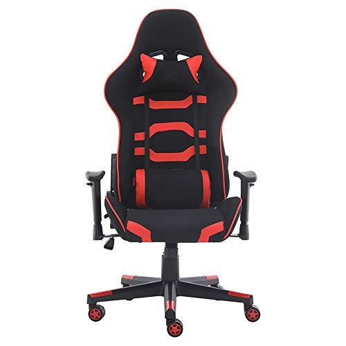 Gaming-Stuhl Computer Stuhl für Große Gamer bestens geeignet, Ergonomischer Schreibtischstuhl Hohe Rückenlehne Drehstuhl mit Kopfstütze und Lendenkissen (Rot)