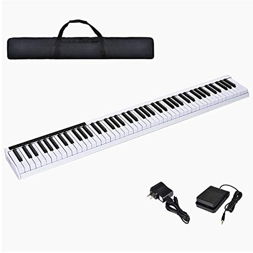 Costzon 88-Key Portable Electronic Piano, with a Handbag, 88-Key Full Size Digital Piano, Bluetooth and Voice Function, Portable Electronic Keyboard, with Sustain Pedal and Power Supply (White)