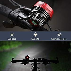 GHB Foco Bicicleta Luces para Bicicleta Impermeable IPX-5 9LED T6 15000LM con Batería y Cargador