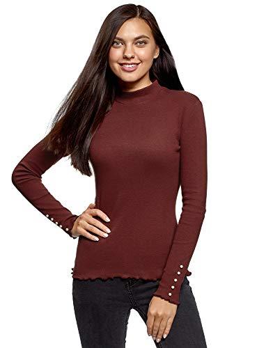 oodji Ultra Damen Pullover Basic aus Baumwolle, Rot, DE 34 / EU 36 / XS