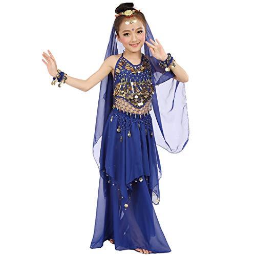 Magogo Mädchen Bauchtanz Kostüm Karneval Party Kostüm, Kinder Glänzende Dancewear Cosplay Arabische Prinzessin Outfit (L, Dunkelblau)