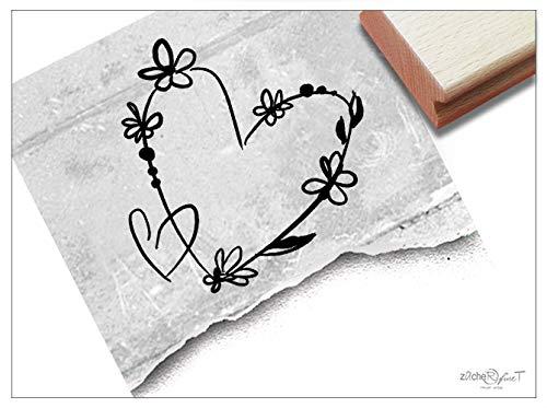 Stempel - Motivstempel Herz mit Blumen, groß - Bildstempel Geschenk Valentinstag Verlobung Hochzeit Karten Basteln Design Deko - von zAcheR-fineT