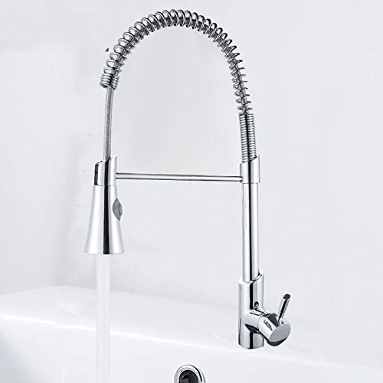 redOOY Taps Faucet Kitchen Sink Dish Basin Kitchen Mixing Spring Faucet Single-Connected Spring Can Pull The Vegetable Basin Copper Faucet