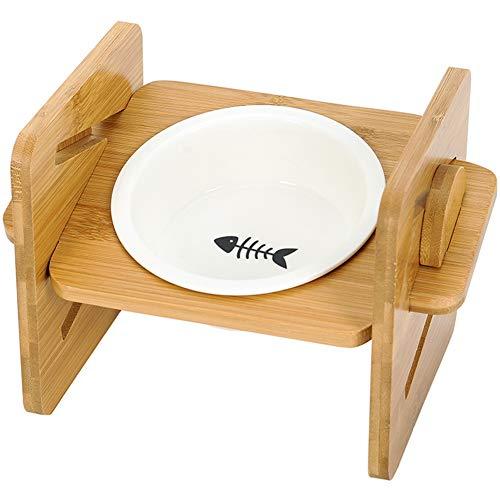 Umora ペットボウル ペット食器台 猫 犬 フードボウル 高さ調節可能 餌入れ 水入れ 食べやすい 滑り止め 木製
