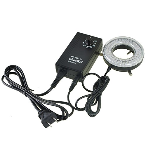 AmScope LED-64-A Microscope Ring Light Illuminator, Stereo Microscope LED Ring Light with Dimmer, 9W 90V-260V 64-LED