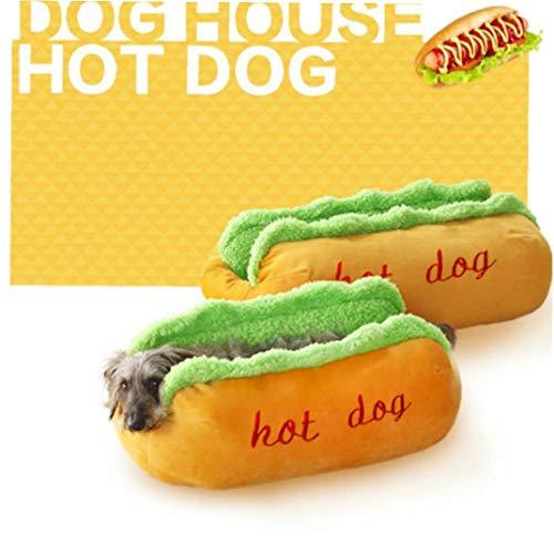 Zonster Kawaii Hot Dog Geformter Hundebett, Sof EIN Bewegliches Kissen Matratze, 1 StüCk (S, 59x50x23cm)