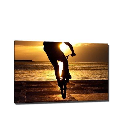 BIKING sport afbeelding op canvas - 60x40 cm - reeds gespannen kunstdruk afbeeldingen als wandafbeelding - Goedkoper dan olieverfschilderij - GEEN poster of affiche