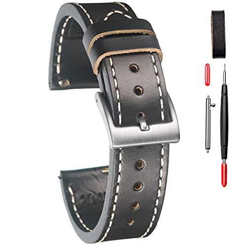 Horween - Cinturino di ricambio per orologio da uomo, 18 mm, stile vintage, a sgancio rapido, con resistente fibbia antipolvere