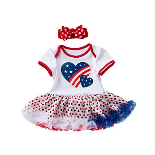 KESYOO 4 de julho, conjunto de roupas de manga curta para bebês meninas com faixa de cabeça, saia com babados, saia de festa, fantasia de festa, Branco, M