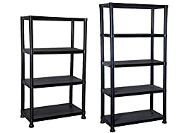 Practical storage solution for the house and in the office, garage, workshop or shed. Made from robust tough black plastic which is easy to keep clean and is non rusting Simple push in minutes. No tools required. Maximum weight per shelf is 20kg Size...