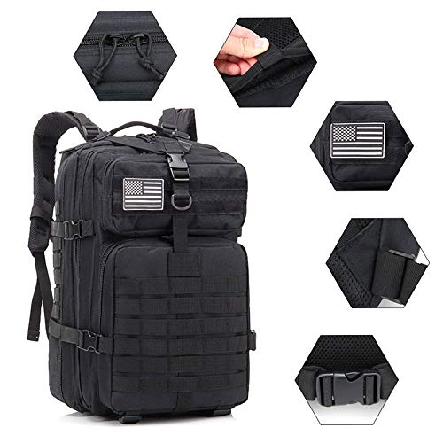 XRQ 50L Large Capacity Men Army Military Tactical Backpack 3P Softback Outdoor Waterproof Bug Rucksack Hiking Camping Hunting Bags,Black