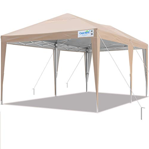 Quictent Privacy 10x20 EZ Pop Up Canopy Tent Party Tent Outdoor Event Gazebo Waterproof with Roller Bag (Tan)