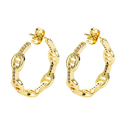 Vvff Cubic Zirconia Big Round Earrings Gold Color Geometric Circle Stud Earrings For Women Hip Hop Jewelry