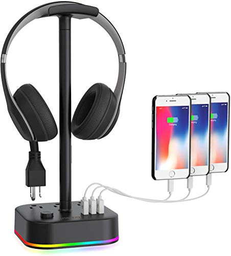 Gamenote RGB Headphone Stand & Power Strip 2 in 1 Desk Gaming Headset...