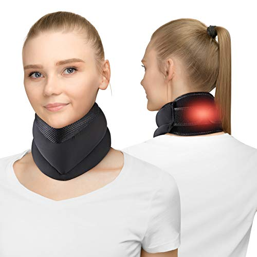 Heated Cervical Collar for Neck Pain Relief, Neck Support Brace for Neck Pain and Support with 4 Adjustable Time and Temperature, Heat Therapy Neck Heating Pad for Spinal Pain and Pressure Relief