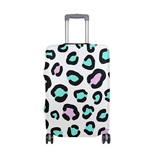 Orediy - Funda elástica para Maleta de Viaje, diseño de Leopardo, Color Verde y Rosa, Multicolor (Multicolor) - suitcasecover