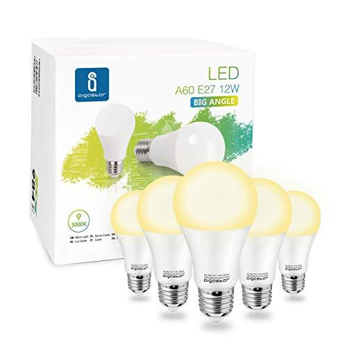 Aigostar - Bombilla LED A60 E27, 12W, 984 lúmenes, Luz calida 3000K, Ángulo 280° - Caja de 5 unidades