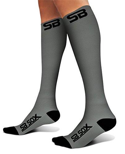 SB SOX Compression Socks (20-30mmHg) for Men & Women - Best Stockings for Running, Medical, Athletic, Edema, Diabetic, Varicose Veins, Travel, Pregnancy, Shin Splints (Gray/Black, Small)