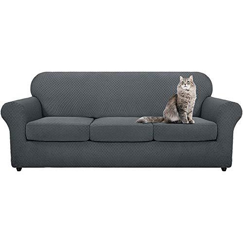 B/H Fundas de sofá de Esquina,Funda de sofá de Punto Grueso, Funda de sofá Completa-Gris A_Four People,3 Plaza Funda de Sofá Elástico Cubierta
