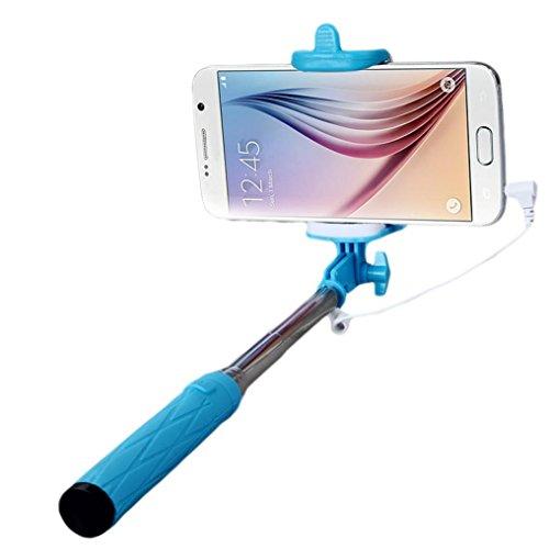 Fulltime® Trépied de Self Pole Poche Extensible Monopode bâton pour Smartphone (Bleu)
