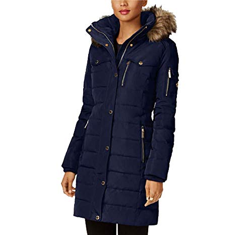 Michael Kors Faux Fur Trim Down Puffer Coat-Navy-M