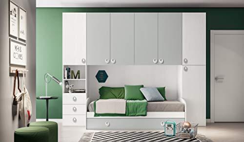 Camera a Ponte Color Bianco frassinato e Grigio. Altezza 236 - Lunghezza 284,5 - profondità 86,5.