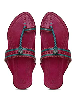 KALAPURI� Ladies Kolhapuri Chappal in Genuine Leather with Pink Pointed Shape Base and Pink Punching Upper. Handmade in Kolhapur