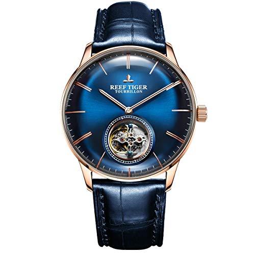 Reef Tiger Azul Tourbillon reloj correa de cuero hombres marca de lujo relojes mecánicos...