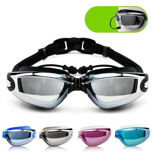 Mantimes Gafas de natación para hombre y mujer galvanizadas antiempañamiento gafas de natación con tapón para los oídos luz plana (negro)