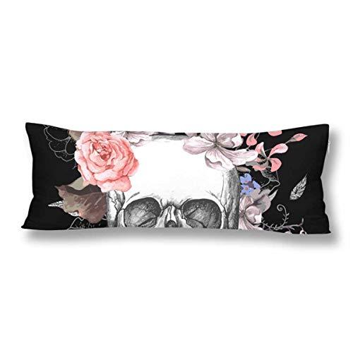 CiCiDi Seitenschläferkissen Kissen-Bezug 40x145 cm Schädel Blumen Atmungsaktives Kissenhüllen mit Reißverschluss Baumwollen und Polyester