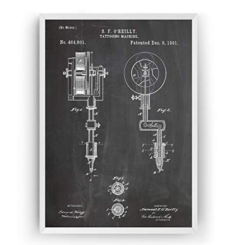 Tätowiermaschine 1891 Patent Poster - Tattoo Machine Giclee Print Art Kunst Wall Dekor Decor Entwurf Wandkunst Blueprint Geschenk Gift - Frame Not Included
