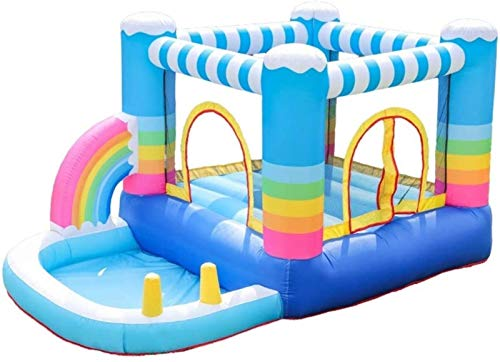 WNN-URG Kids Bouncy Castle Small Air Cushion Bed Children Trampoline Home Jumping Bed Indoor and Outdoor Inflatable Castle Inflatable Bouncer Bounce House (320*280*210cm) URG