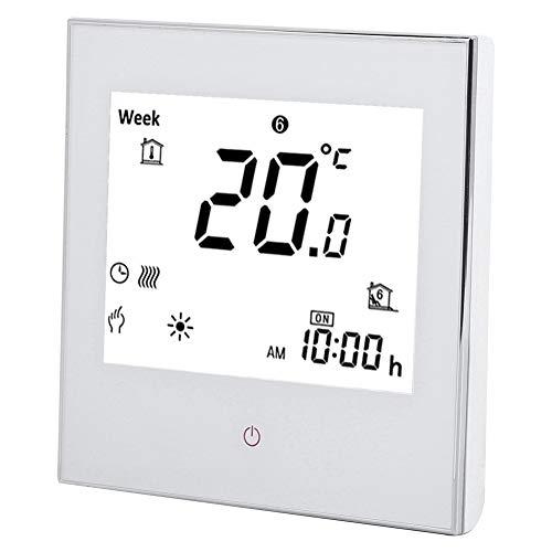 Termostato digital para interior, termostato semanal con pantalla táctil 3 A AC110-230 V (blanco)