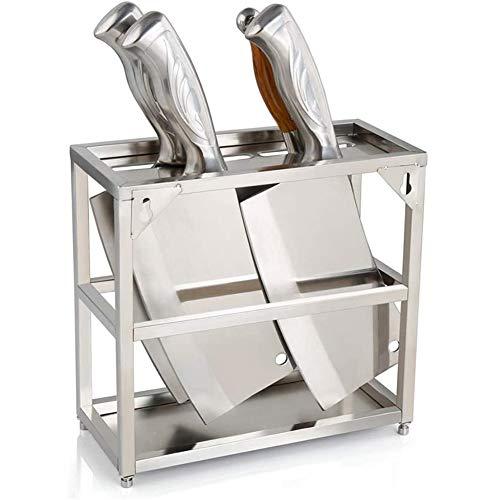 Universeel messenblok, messenhouder, roestvrijstalen ophangbare multifunctionele keukenplankorganizer, zonder messen,Silver
