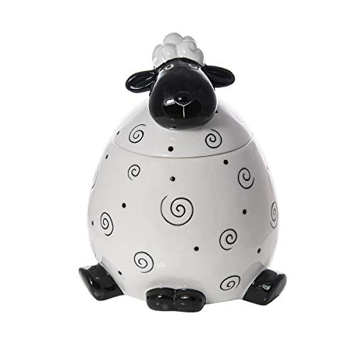Keksdose Keramik Cookie Jar, Vorratsdose groß Luftdicht mit Deckel, Schafform - Shaf Deko Geschenk für Tierlieberhaber