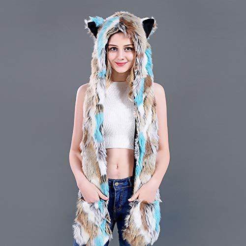 LED Lichtgevende Kitten Faux Bont Hoed Sjaal Handschoenen, Oplichten Fancy Jurk Kostuum, Brandende Glow Fluffy Sparking Regenboog, C
