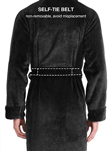 DAVID ARCHY Men's Soft Fleece Plush Robe Full Length Long and Knee Length Big and Tall Bathrobe