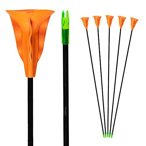 Bogenkönig Pfeile für Bogenschießen 5er Set [Update Version] aus Fiberglas mit orangenem Saugnapf Kinder Bogen 28 Zoll