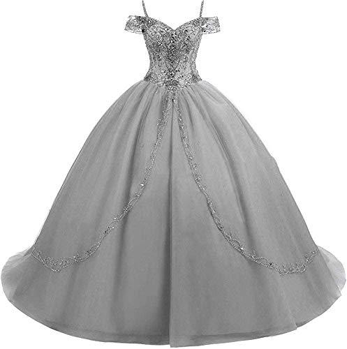 HUINI Abendkleider Lang Elegant Hochzeitskleid Damen Standesamt Brautkleid Promkleid Schulterfrei Silber-grau 38