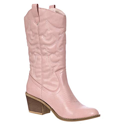 Charles Albert Women's Embroidered Modern Western Cowboy Boot in Blush Size: 10