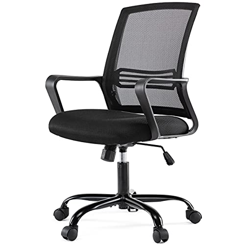 Home Office Chair, Ergonomic Mid Back Mesh Computer Chair with Lumbar Support Armrest Executive Rolling Swivel Desk Chairs