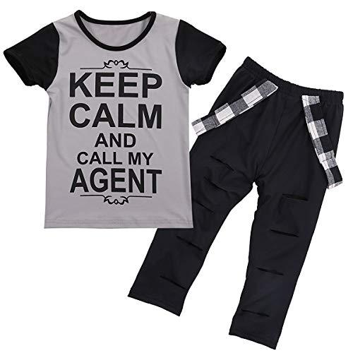 HaiQianXin Mode Baby Kind Mädchen Hip-Hop Stil Brief T-shirt & Loch Hosen Leggings Outfits Set (Size : 1T-2T)