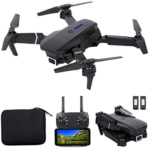 KLJJQAQ RC Drone, FPV Drone with 4K HD Camera WiFi Live Video, Foldable RC Qudcopter with Headless Mode, Altitude Hold, Track Flight, 3D FILP,Black,2 Batteries