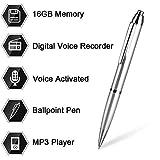 Aizhy, 16 GB - Bolígrafo grabador de voz digital activado por voz de bolsillo, dictáfono, reproductor de MP3 3 en 1 con mini disco USB, grabación de un botón y ahorro de discursos perfectos