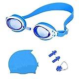 YFOXLas Gafas de natación para niños+Gorro de baño+Tapones para los oídos+Clip para la Nariz Son un Conjunto de Excelentes y convenientes instalaciones para niños,cómodas de Usar