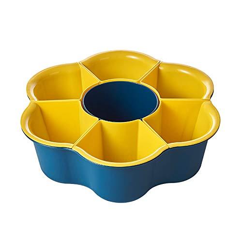 GZDD Plato de Verduras Multifuncional Creativo Giratorio para Uso doméstico Cesta de Drenaje, Fruteros de plástico de Doble Capa Lavabo de Drenaje de Olla calient,Blue,7grids