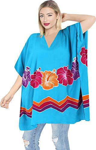 LA LEELA Trajes de baño del Traje de baño del Traje de baño del Bikini Kimono Blusa Holgada Cubren suben Casuals Color Turquesa de Las Mujeres
