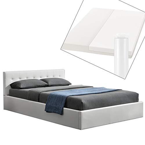 ArtLife Polsterbett Marbella 140 x 200 cm mit Matratze, Bettkasten & Lattenrost – Bett aus Kunstleder und Holz – Jugendbett weiß